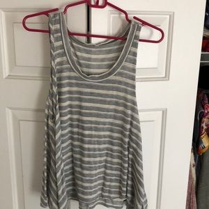 Gray and white striped top.